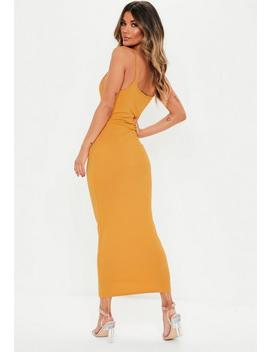 Robe Midi Côtelée Jaune Moutarde à Bretelles by Missguided