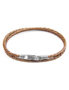 Anchor & Crew Sterling Silver Light Brown Leather Liverpool Bracelet Ac.Do.Lio by Anchor & Crew