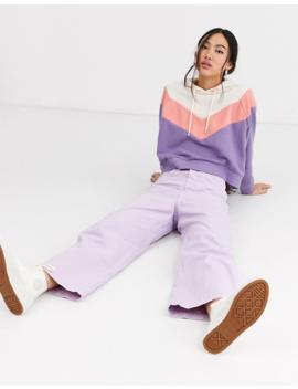 Monki – Kurzer Kapuzenpullover Mit Farbblockdesign In Creme Und Violett by Asos