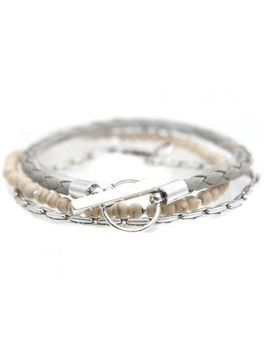 Mens Icon Brand Silver Plated Moore Combo Bracelets B1168 Br Com Crm by Icon Brand Jewellery