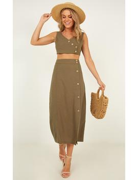Words Of Wisdom Two Piece Set In Khaki Linen Look by Showpo Fashion