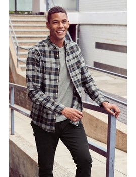 Grey Check Flannel Regular Fit Shirt by Next