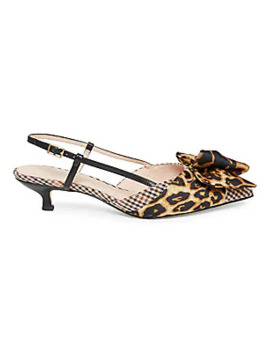 Daxton Leopard & Houndstooth Kitten Heel Slingback Sandals by Kate Spade New York