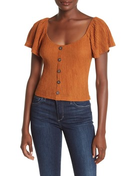 Short Sleeve Pleated Button Down Top by Lush