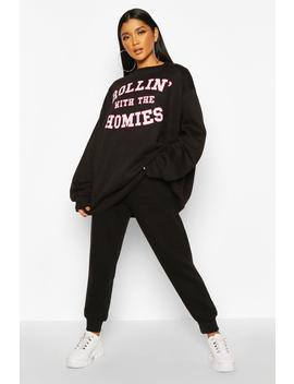 Rolling With The Homies Slogan Oversized Sweatshirt by Boohoo