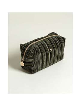 Bee Pleated Velvet Green Makeup Bag Large by Olivar Bonas