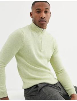 Asos Design – Mittelschwerer Baumwollpullover Mit Kurzem Reißverschluss In Hellgrün Meliert by Asos