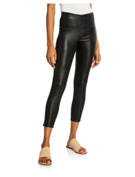 Lamb Leather Cropped Leggings by Vince