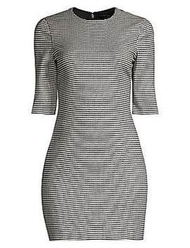 Delora Houndstooth Mini Dress by Alice + Olivia