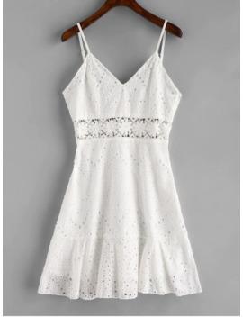 Crochet Panel Eyelet Cami Dress   White S by Zaful