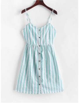Knotted Back Buttoned Striped Cami Dress   Medium Turquoise S by Zaful
