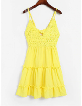 Hot Sale Knotted Back Crochet Panel Flared Cami Dress   Yellow L by Zaful