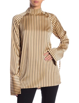 Striped Mock Neck Top by Love + Harmony