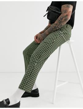 Asos Design – Elegante, Karierte Hose In Kurzer, Schlanker Passform Mit Metallkette by Asos