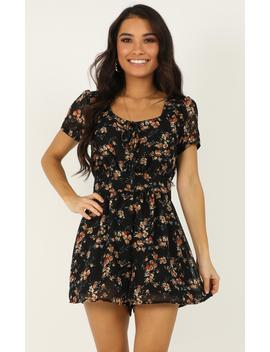 Biggest Fears Playsuit In Black Floral by Showpo Fashion