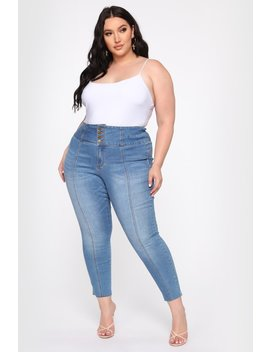 Perfect Proportions Exposed Buttons Skinny Jean   Med Wash by Fashion Nova