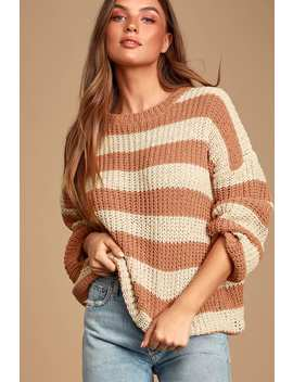 Elsiena Cream And Peach Striped Chenille Sweater by Lulus