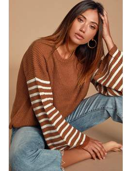 Feeling Great Rust Brown Striped Bell Sleeve Sweater by Lulu's