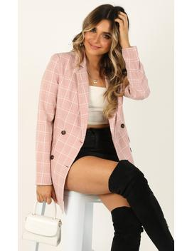 Sort It Out Blazer In Blush Check by Showpo Fashion