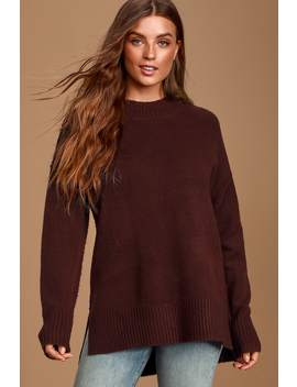 Sleepy Sunday Dark Brown Mock Neck Knit Sweater by Lulus