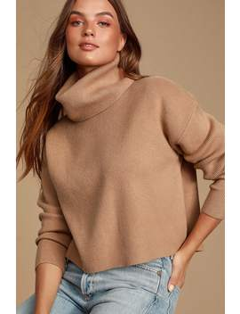 Let's Cuddle Tan Cowl Neck Sweater by Lulus