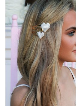 Romantic Possibilities Pearl Heart Hair Clip Set by Madison + Mallory