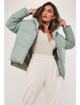 Mint Jersey Oversized Puffer Jacket by Missguided