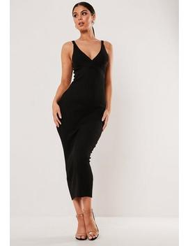 Black Rib Plunge Bodycon Midaxi Dress by Missguided