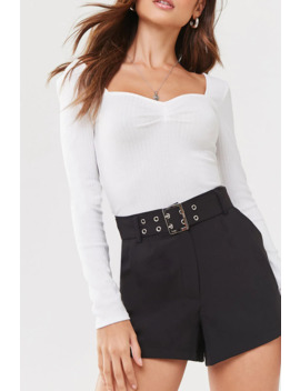 Belted Pleated Shorts by Forever 21