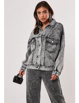 Grey 80s Batwing Oversized Denim Jacket by Missguided