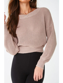 Ribbed Lace Up Back Sweater by Forever 21