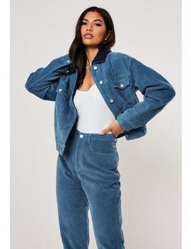 Blue Co Ord Cord Borg Collar Jacket by Missguided