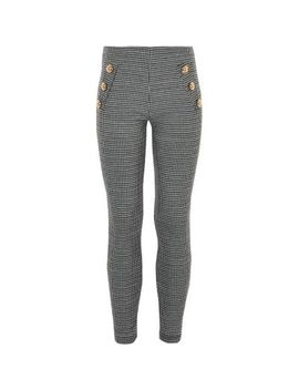 Girls White Mono Dogtooth Check Leggings by River Island