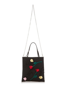 Flower Embellished Tessuto Mini Top Handle Bag by Prada