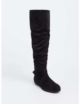 Black Faux Suede Over The Knee Scrunch Boot (Wide Width) by Torrid