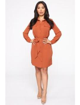 Leave Me In Charge Shirt Dress   Rust by Fashion Nova