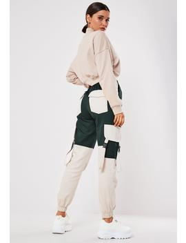 Green Twill Colourblock Seatbelt Cargo Pants by Missguided