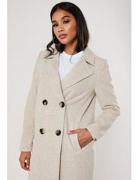 Sand Check Button Front Coat by Missguided