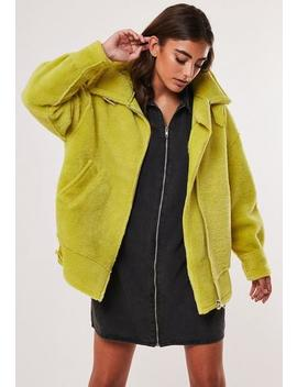 Lime Shearling Aviator Jacket by Missguided