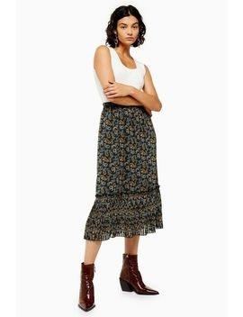 Paisley Tiered Pleat Midi Skirt by Topshop