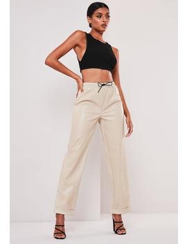 Sofia Richie X Missguided Stone Faux Leather Joggers by Missguided