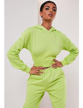 Sofia Richie X Missguided Neon Yellow Corset Hoodie by Missguided