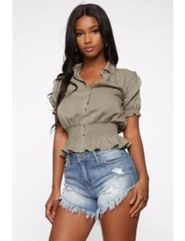 Bailey Short Sleeve Blouse   Olive by Fashion Nova