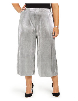 Plus Size Pleated Metallic Pants by General