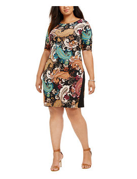 Plus Size Paisley Side Ruched Dress by General