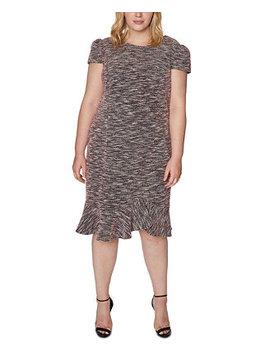 Trendy Plus Size Tweed Flounce Sheath Dress by General
