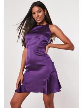 Purple Satin Halterneck Flippy Hem Dress by Missguided