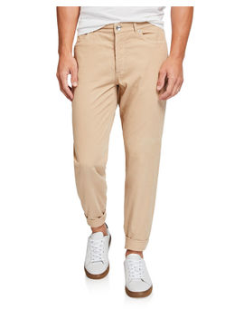 Men's Micro Wale Corduroy Flat Front Pants by Brunello Cucinelli