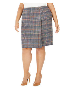 Plus Size Plaid Tweed Pencil Skirt by General