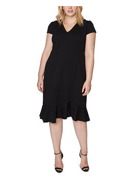 Plus Size V Neck Flounce Midi Dress by General